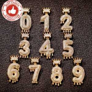 Crown Drip Numbers 0 – 9 Gold Silver Color Bubble Number Chain  Custom Chains