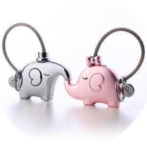 Kissing Elephant Keychain Keyring For Lovers  Couple Keychain