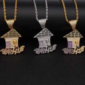 Trap House Pendant AAA CZ Bling Purple Iced Out  Custom Chains