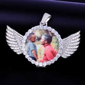 Custom Chains With Pictures - Your Photo With Wings Medallions Pendant