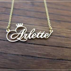 Personalized Cursive Font Crown Nameplate Pendant  Personalized Necklaces