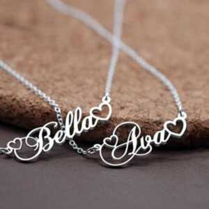 Personalized Name Pendant With Tiny Heart  Personalized Necklaces