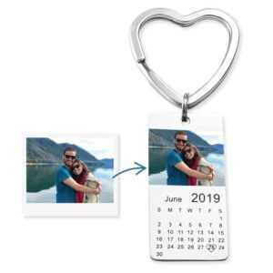Personalized Colour Photo Calendar Keychain with Love Date