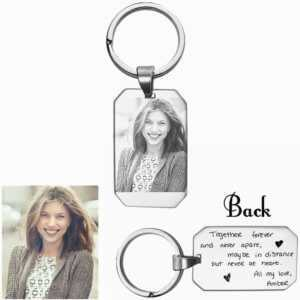 2 Sided Custom Keyrings with Photo and Text  Personalized Keychains
