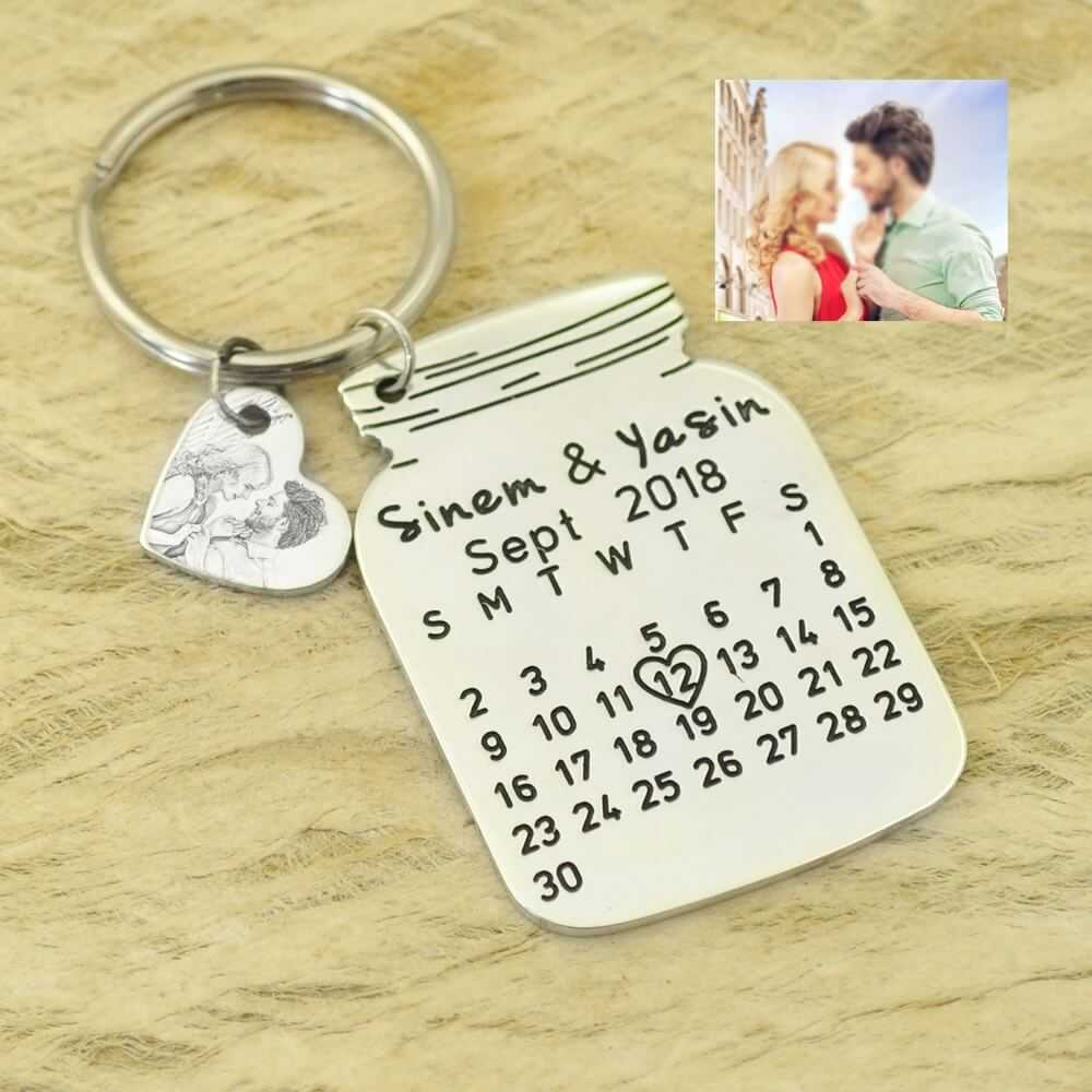 Love You Calendar Keychain Stainless Steel Key Ring With Heart Date Gift Jewelry