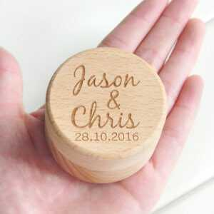 Personalized Ring Box with Your Name and Date Wedding Wood Ring Box