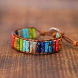 Chakra Bracelet Multicolor Natural Stone Beaded Leather Wrap