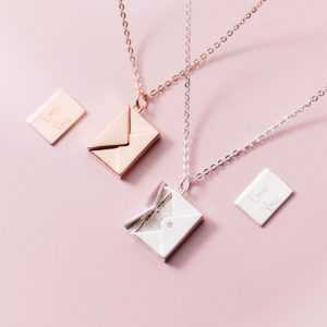 Envelope Necklace 925 Sterling Silver Gold  Women's Necklaces