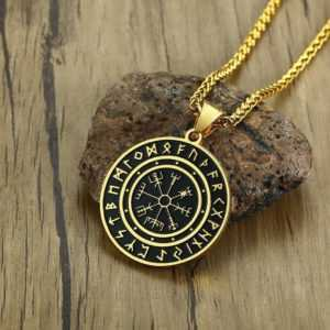 Valknut Pendant – Gold Tone Stainless Steel Viking Necklace For Men  Mens Necklaces Viking Necklace