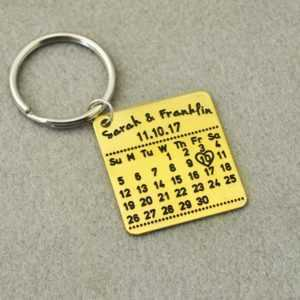 Personalized Calendar Keychain – Customize Name Date and Quote  Personalized Keychains