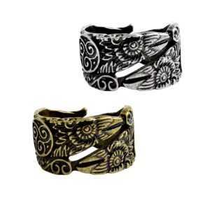 Gold And Silver Odin'S Raven Ring  Mens Rings