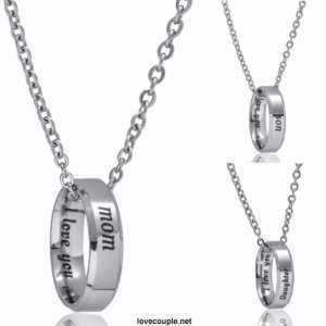 I Love You Mom Son Daughter Stainless Steel Ring Pendant Necklace  Women's Necklaces