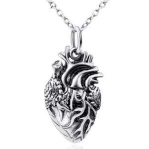 925 Sterling Silver Anatomically Correct Heart Pendant Necklace  Mens Necklaces Women's Necklaces