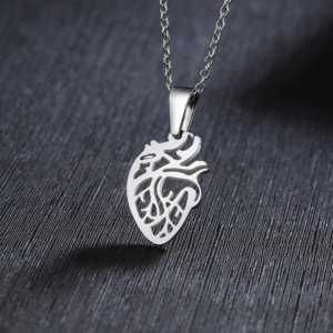 Silver Anatomical Heart Pendant Necklace Medical Science Jewelry  Women's Necklaces