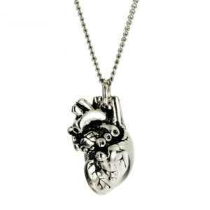 Polished Tiny 3D Anatomical Heart Necklace Long Chain  Women's Necklaces