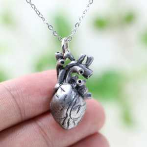 Anatomical Heart Pendant Anatomy Jewelry Anatomical Heart Necklace  Women's Necklaces