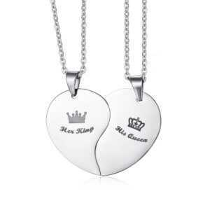 His Queen Her King Crown Puzzle Heart Couple Necklace