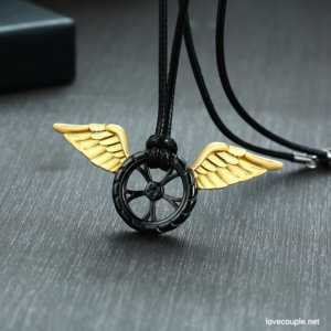 Angel Wing On Wheel Pendant Necklace  Mens Necklaces
