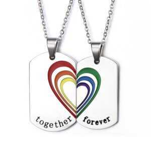 "Lesbian Couple Necklaces - Gay Couple Necklaces ""Together Forever"""