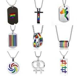 Lgbt Necklace – Colorful Stainless Steel Pendant Necklace  LGBT Jewelry