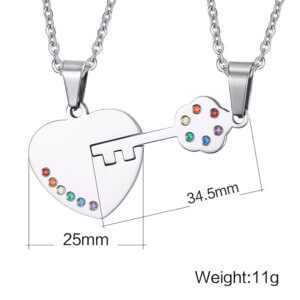 """Key to Heart"" Rainbow Crystal Couple Pendant Necklace for Gay Lesbian"