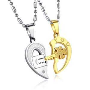 Couple Necklace Key and Lock – 2PCs Couple Necklace Set  Couple Necklaces