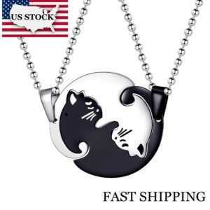 Matching Cat Couple Necklaces Pendants for Men and Women