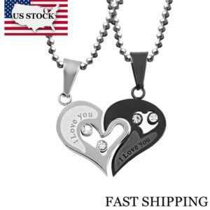Stainless Steel Half Heart Necklace For Couples  Couple Necklaces