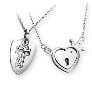 open heart key necklace – Key and Heart Lock Couple Pendant Necklace  Couple Necklaces