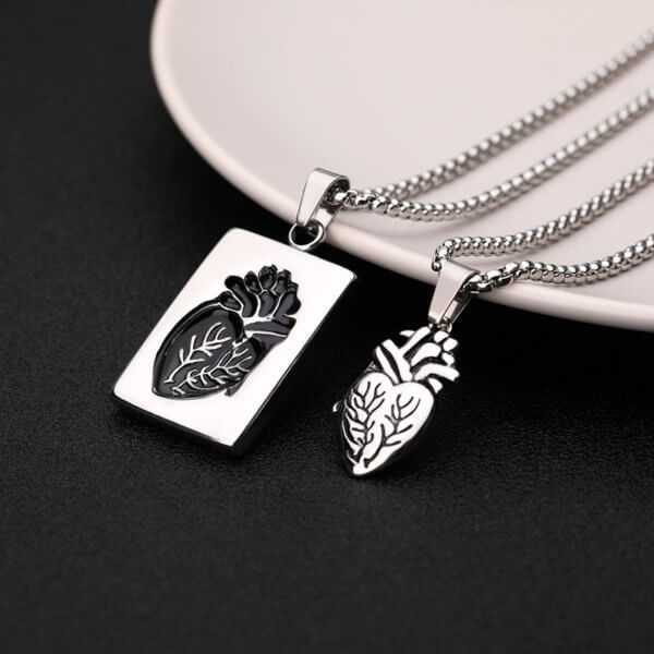 Anatomical Heart Necklace Puzzle Couples Necklaces   Silver and Gold