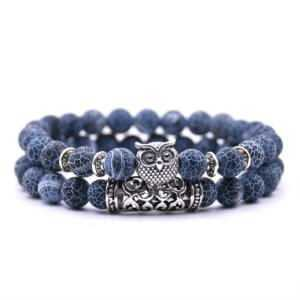 Natural Lava Stones 2 Pcs/set Fashion Cute Owl Couple Bracelet