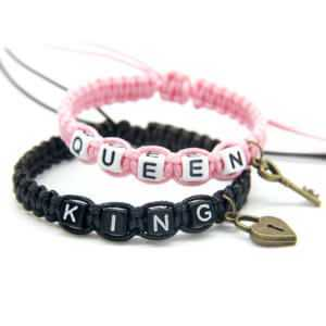 Black Pink Beadeds King Queen With Key Lock Rope Chains Bracelets
