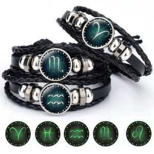 12 Constellation Zodiac Luminous Crystal Leather Bracelet  Mens Bracelets