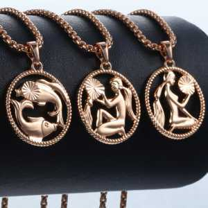 585 Rose Gold Zodiac Sign 12 Constellation Pendant Necklace  Women's Necklaces