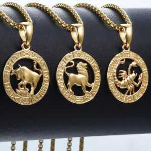 12 Horoscope Zodiac Sign Gold Pendant Necklace  Mens Necklaces