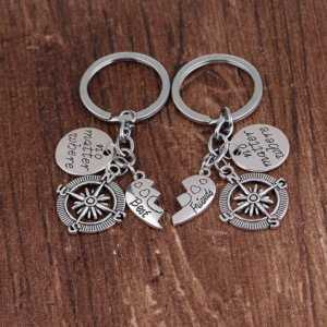 Best Friend Keyring For 2 Say No Matter Where Best Friend Forever  Couple Keychain
