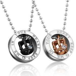King And Queen Necklaces For Couples Say Keep Me In Your Heart  Couple Necklaces