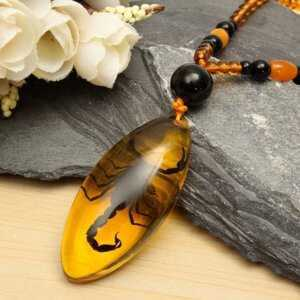 Amber Necklace – Scorpion Inclusion In Pendant Necklace  Mens Necklaces