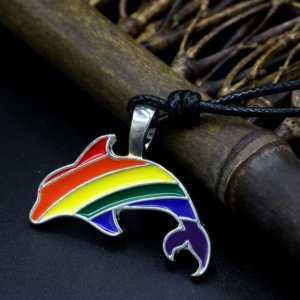 Rainbow Dolphin LGBT Pendant Necklace Gay and Lesbian Pride  LGBT Jewelry