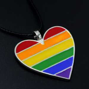 Rainbow Gay Lesbian LGBT Heart Necklace  LGBT Jewelry