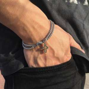 Double Strand Chain with Cross Charms Bracelet  Mens Bracelets