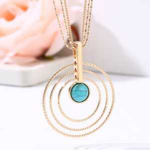 Multi Circle Beautiful Blue Bead Pendant Necklaces  Women's Necklaces