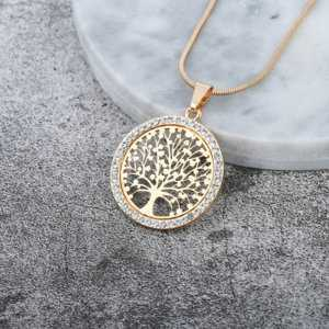 Tree of Life Crystal Round Pendant Necklace Gold Silver Colors  Women's Necklaces