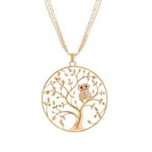 Tree of life Owl Circle Necklace Long Chains Gold Rose Gold Silver Color  Women's Necklaces