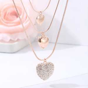 3 in 1 Necklace Lovely Crystal Multi Layer Heart Pendant Necklaces