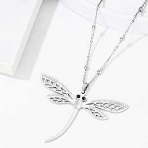 Silver Color Insect Dragonfly Crystal Pendant Necklace  Women's Necklaces