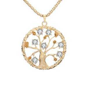 Vintage Tree Of Life Pendant Necklace Clear Crystal  Women's Necklaces