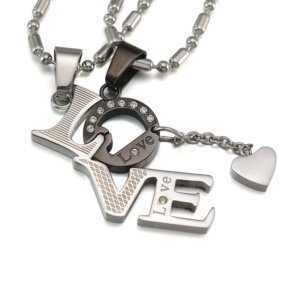 Love Couples Pendant Necklace with Tiny Heart  Couple Necklaces