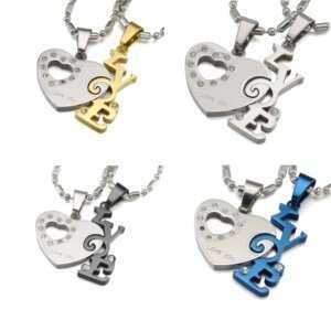 Love Heart Matching Couples Pendant Necklace 4 Colors