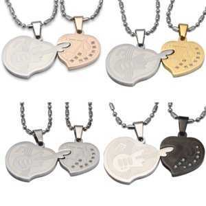 Love Guitar Heart Matching Pendant Necklace for Couples